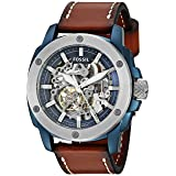 Fossil Men's Automatic Stainless Steel and Leather Casual Watch, Color:Brown (Model: ME3135 (Color: Dark Brown Leather, Tamaño: One Size)