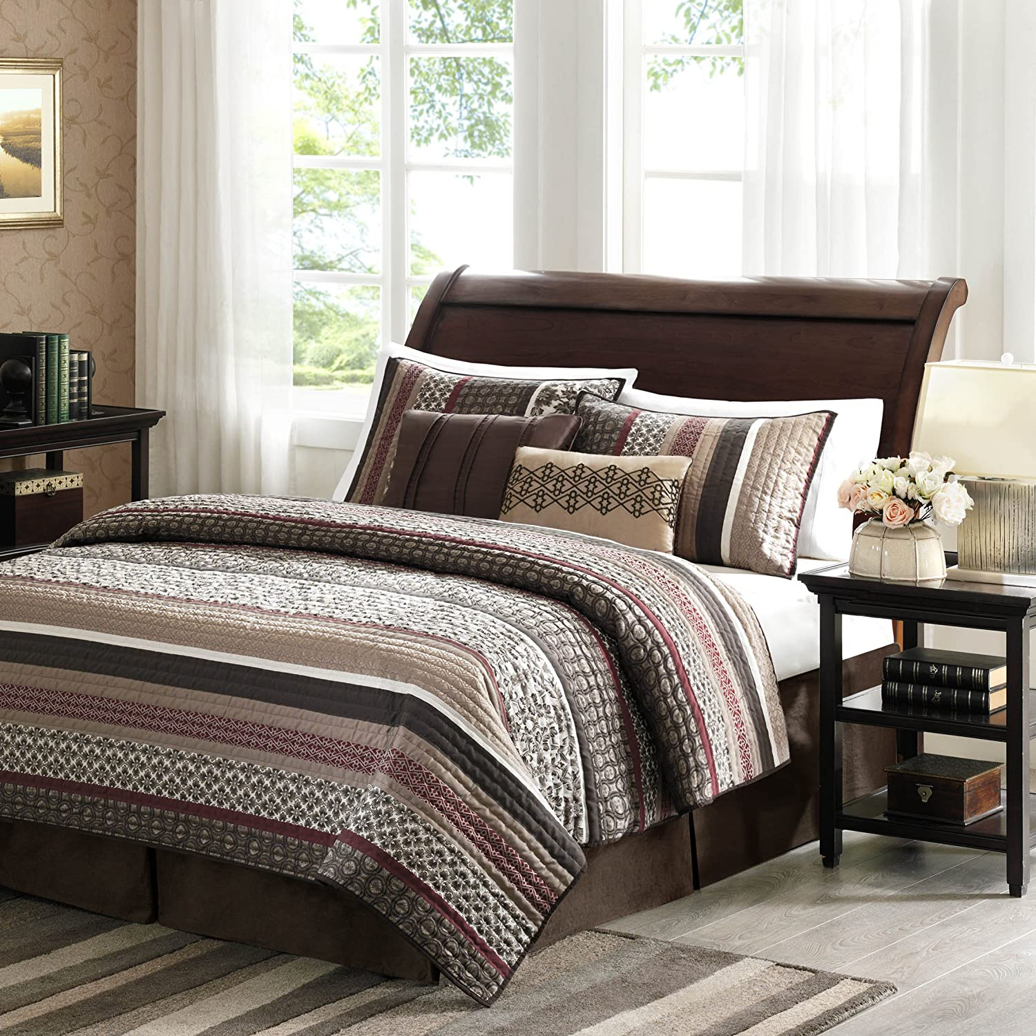 Brown and red bedding - Madison Park Princeton 5 Piece Quilted Coverlet Set King Red