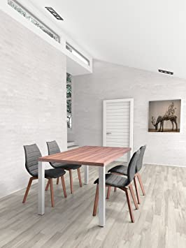 Gothenburg Dining Table Walnut. The Gothenburg Table has a slim, modern silhouette. Sleek walnut tops gleaming stainless steel stems. A beautiful centerpiece for any room.