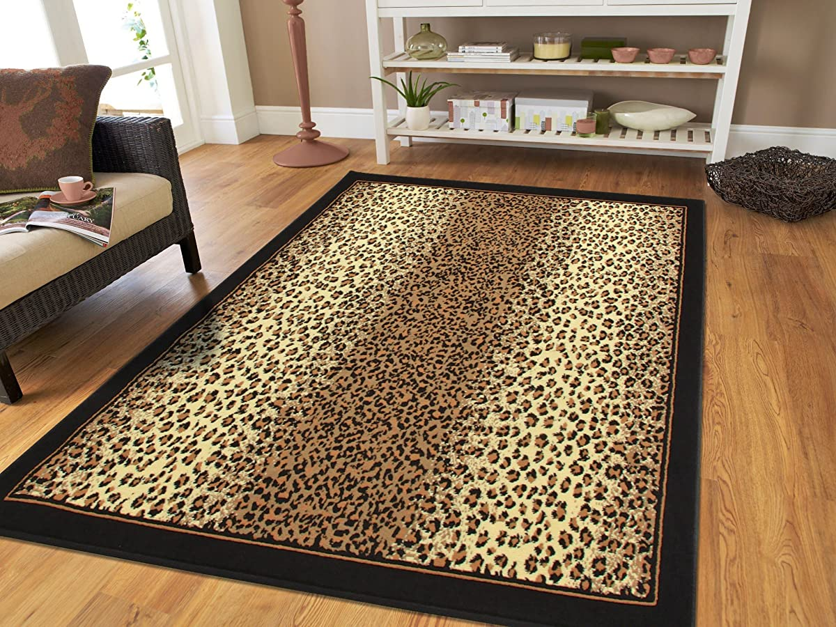 Brown Checkered Cheetah Rug Animal Print Rectangle Leopard Rug 5x7 Rug Brown Black Cream Rugs Leopard 5x8 Modern Rugs for Living Room (Medium 5x8 Rug)