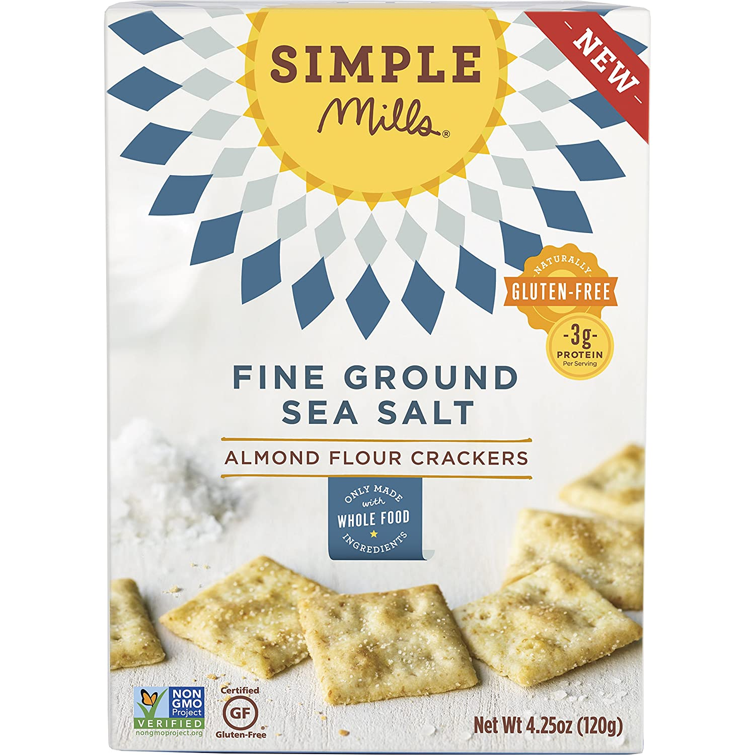 Fine Ground Sea Salt Almond Flour Crackers (Pack of 3) 4.25 Ounce Boxes