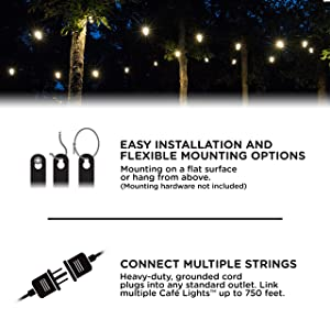Enbrighten Classic LED Café String Lights with Stainless Steel Lens Shade, Black, 48ft, 24 Impact Resistant Lifetime Bulbs, Premium, Shatterproof, Weatherproof, Indoor/Outdoor, UL Listed, 43364 (Color: Black Stainless Steel, Tamaño: 48 ft.)