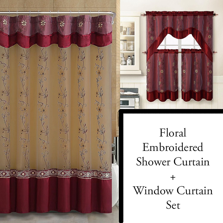 Amazoncom Burgundy Shower Curtain And  Pc Window Curtain Set - Burgundy shower curtain sets