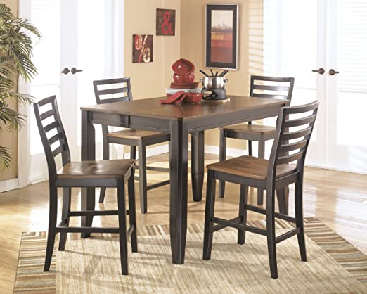 Contemporary 5 Pc Two Tone Alonzo Counter Height Dining Table And Barstools Set