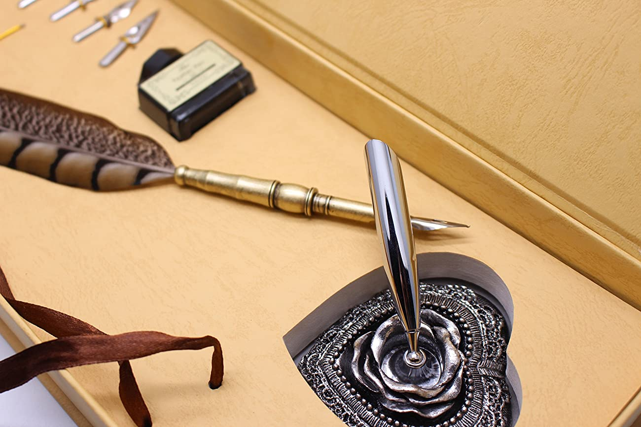 Calligraphy Set - Antique Copper Feather Pen Metal Nib Pen Writing Quill 3