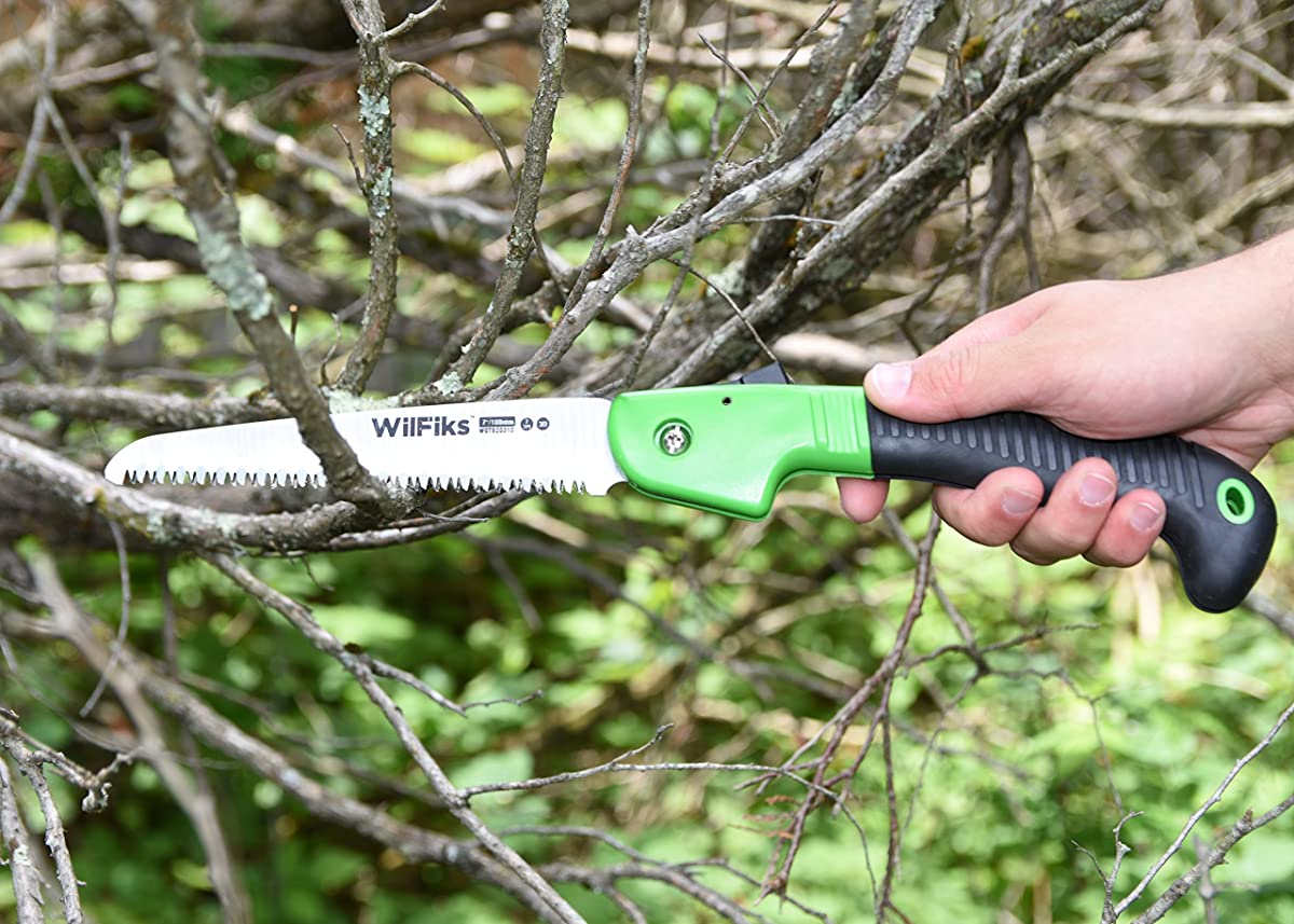 """WilFiks Razor Sharp 7"""" Blade Folding Saw, Perfect for Gardening, Pruning, Trimming, Sawing, Camping, Hiking, Hunting & Cutting Wood, Drywall, Bone, & More, Foldable Hand Held Design, Non-Slip Handle"""