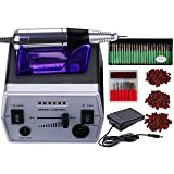 30000RPM Professional Electric Nail File Drill Manicure Pedicure Machine Tool Set Kit Bit Low Noise and Vibration (Black) (Color: Black)