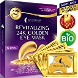 Eye Pads 24k Gold Eye Mask Anti-Aging Hyaluronic Acid Eye Patches Under Eye Mask for Moisturizing & Reducing Dark Circles Puffiness Wrinkles Eye Gel Pads from Puffy Eyes Collagen Eye Pads (Color: Blue)