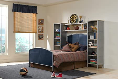 Youth Mesh and Steel Bed with Wall Shelf Unit (Full)