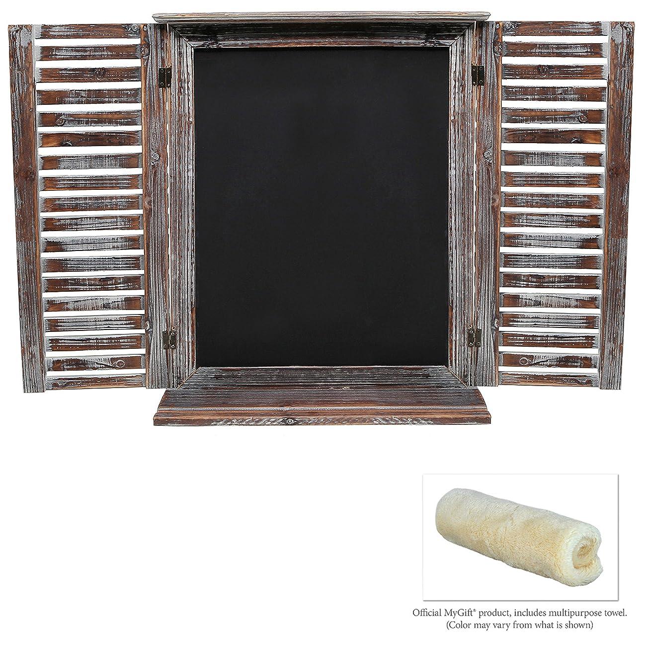Rustic Vintage Wood Standing Chalkboard / Wall Mounted Blackboard w/ Folding Shutter Doors - MyGift® 4