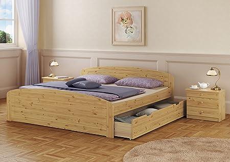 Funktionsbett Doppelbett + Bettkasten Rollrost Matratze 180x200 Seniorenbett Massivholz 60.50-18 M2