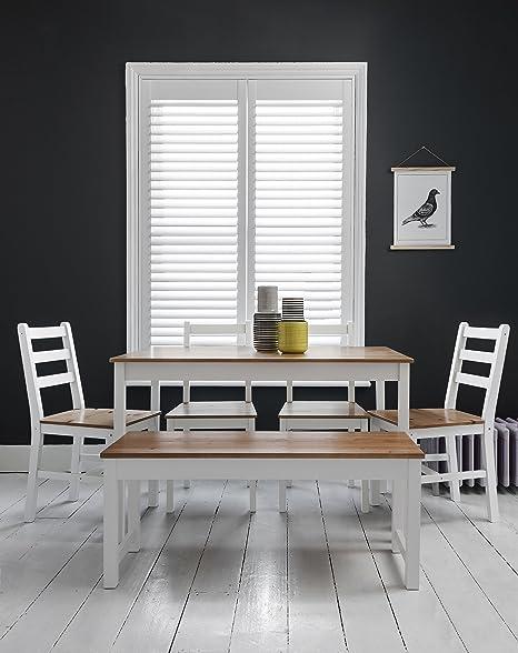 Annika–Mesa de comedor y 4sillas y banco en color blanco y madera de pino Noa y Nani
