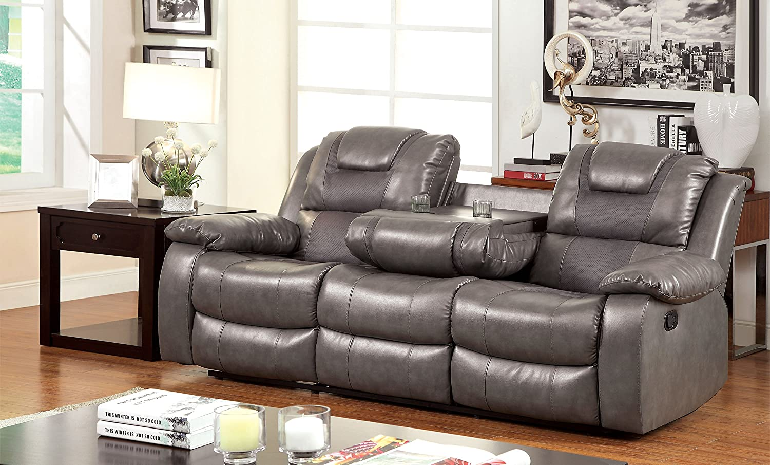 Furniture of America Steely 2-Recliner Sofa