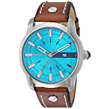 Diesel Men's Armbar Stainless Steel and Leather Casual Watch, Color Silver-Tone, Brown (Model: DZ1815) (Color: Brown)