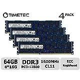 Timetec Hynix Original 64GB Kit (4x16GB) DDR3 1600MHz PC3-12800 Registered ECC 1.5V CL11 2Rx4 Dual Rank 240 Pin RDIMM Server Memory RAM Module Upgrade (64GB Kit (4x16GB)) (Tamaño: 64GB KIT(4x16GB))