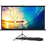 Portable Projector Screen with Stand 100 inch - Indoor and Outdoor Movie Screen for Cinema and Office Presentation - 16:9 HD Video Projection Diagonal for Home with Premium Wrinkle-Free Tripod Screen (Color: Black, Tamaño: 100