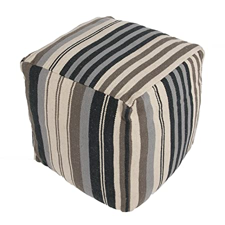 Jaipur Stripe Pattern Black/Ivory Cotton Pouf, 18-Inch x 18-Inch x 18-Inch, Quarry Cad08