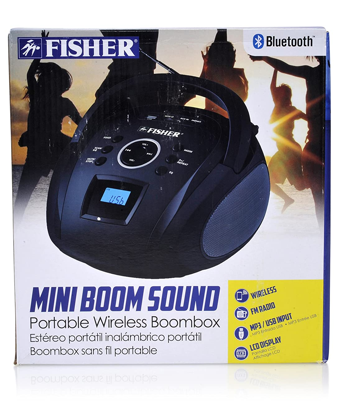 Fisher Mini Wireless Portable Boombox, With LCD Display, FM Radio, Playback Recording, Equalizer, Built-in Microphone, Auxiliary Input, and Ultra-Portable Design 6