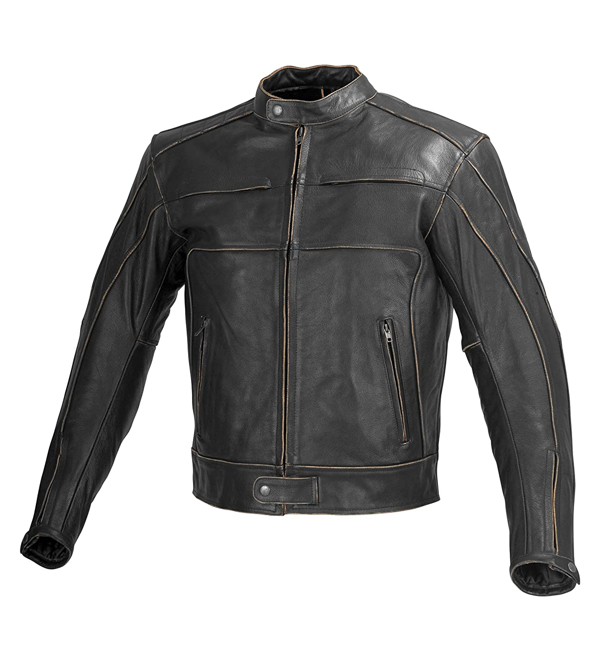 Men Motorcycle Armor Leather Jacket Vintage Style by Xtreemgear Black MBJ024 0