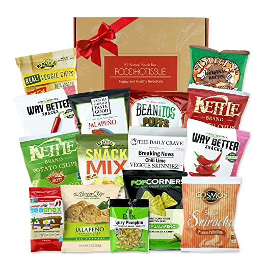 Spicy Snacks Healthy Gift Box Premium Care Package Variety Natural Organic Gluten GMO FREE Vegan School Lunch for kids Bundle 15 ct