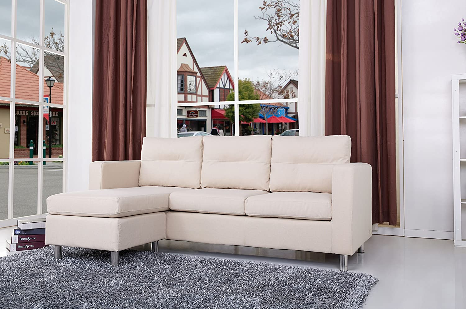 Gold Sparrow Detroit Convertible Sectional Sofa and Ottoman - Beige