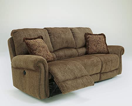 Macnair Traditional Style Umber Tone Thick Chenille Fabric Reclining Power Sofa