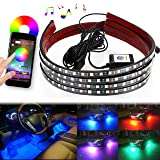 DITRIO 4Pcs Car LED Underglow / Underdash / Glow / Undercar Lights Kit, Interior Dash Lights Strip, RGB Multicolor Neon Underbody System Lights With APP BT for iPhone Android (Pack of 4)