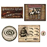 DE Sign Vintage Metal Signs Gun Bundle - Winchester Rifles & Ammo, Remington Bullet Board, Colt Round Logo, Smith and Wesson Revolver Manufacturer. Plus Winchester Logo Magnet. (Color: Red White Black)