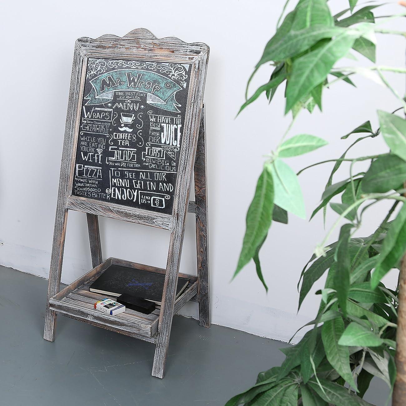 MyGift Torched Wood Chalkboard Easel, Freestanding Vintage Sign Blackboard, Brown 1