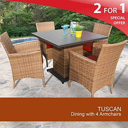 Tuscan Square Dining Table with 4 Chairs Terracotta 2 Yr Fade Warranty