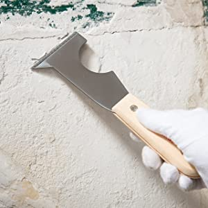 Bates- Paint Scraper, Taping knife, Pack of 2 Putty Knife Scraper, Scraper, 5 in 1 tools, Spackle Knife, Caulk Removal Tool, Painters Tool, Paint Can Opener, Paint Remover for Wood, Wallpaper Scraper (Color: Original version)