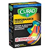 Curad Performance Series Fingertip and Knuckle Extreme Hold Fabric Bandages, 20 Count (Color: Original Version)