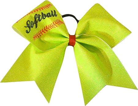 Large Softball Bows Softball Neon Green Large