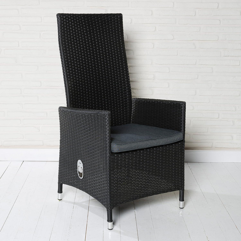 6 bequeme Polyrattan Hochlehner Gartensessel Gartenstühle schwarz mit verstellbarer Rückenlehne und Sitzkissen