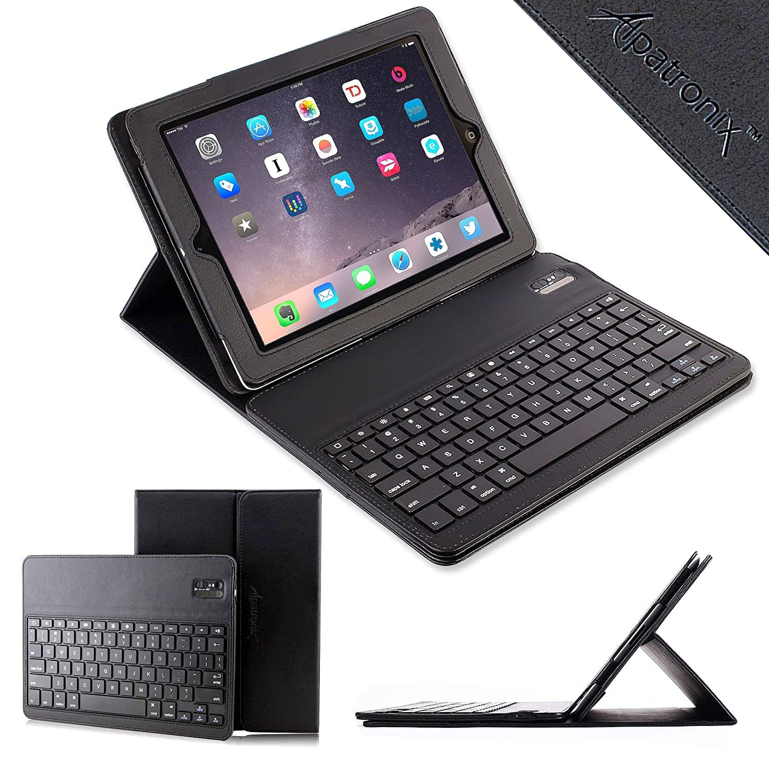 iPad Air & iPad Air 2 Keyboard Case - Alpatronix KX130 iPad Air Keyboard Case with Bluetooth Removable Folio Wireless ABS Keyboard, Detachable Vegan Leather Case  ..