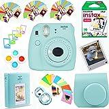 Fujifilm Instax Mini 9 Instant Film Camera (Ice Blue) + Instax Film (10 Shots) + Photix Pleather Case + 64 Pocket Album+ Photix Self-Standing Frames + Stick-on Frames Exclusive Instax Design Bundle (Color: Blue, Tamaño: ultra-compact)
