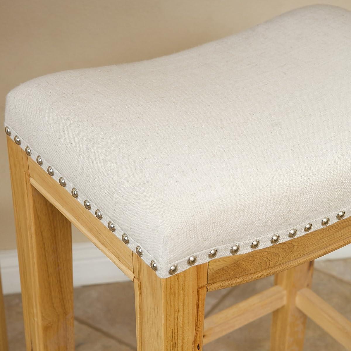Great Deal Furniture Jaeden Beige Backless Bar Stools (Set of 2)