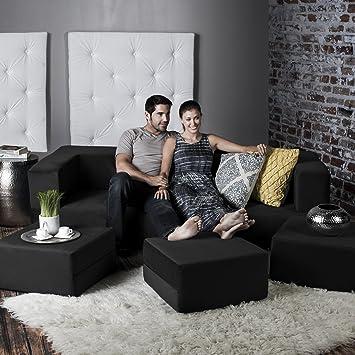 Jaxx Zipline Modular Sofa & Matching Ottomans, Black