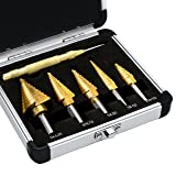 Drill bits,DBF Classic Titanium Step Drill Bit Set & Automatic Center Punchï¼?High Speed Steel 5-Piece Set,Double Cutting Blades Design with Alum