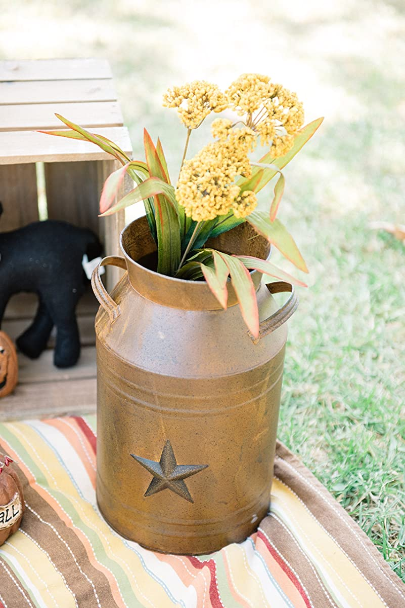 Milk Can Container with Star Attached, 10.5-Inch, Rust