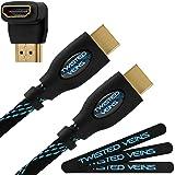Adaptador de ángulo recto Twisted Veins (25 pies) alta rapidez cable HDMI y cable con velcro (última versión  compatible con Ethernet, 3d y retorno de audio)