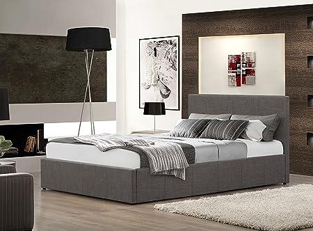 3-teiliges Schlafzimmer-Set inkl. 4ft Small Double Grau Stoff Ottoman Bett mit 15cm Memory Foam Matratze und grau Stoff Nachttisch