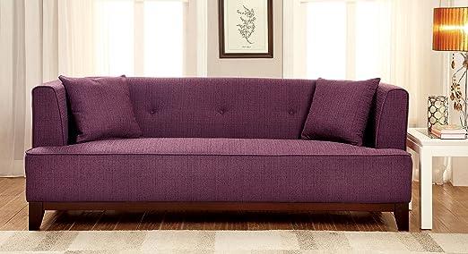 Furniture of America Elsa Neo-Retro Sofa, Purple