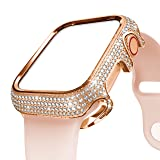 BaiHui 18K Rose Gold Bling Case Compatible with Smart Watch 40mm Series 4/5,Stainless Steel Sparkling Crystal Diamond Protective Case Cover Shiny 368 Rhinestone Bezel Screen Protector for Women/Girls (Color: Rose Gold, Tamaño: 40mm)