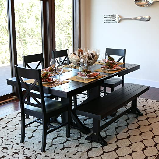6 Piece Black Wood Dining Set with 4 Chairs, Bench and Butterfly Leaf