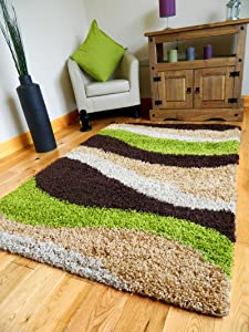 NEW MODERN BROWN GREEN BEIGE BISCUIT THICK HEAVY 5CM SHAGGY PILE SMALL MEDIUM LARGE LIVINGROOM HALL OFFICE RUG MAT CARPET **(3SIZES AVAILABLE FROM DROP DOWN BOX)** (160 X 225 CMS)       Customer review and more information