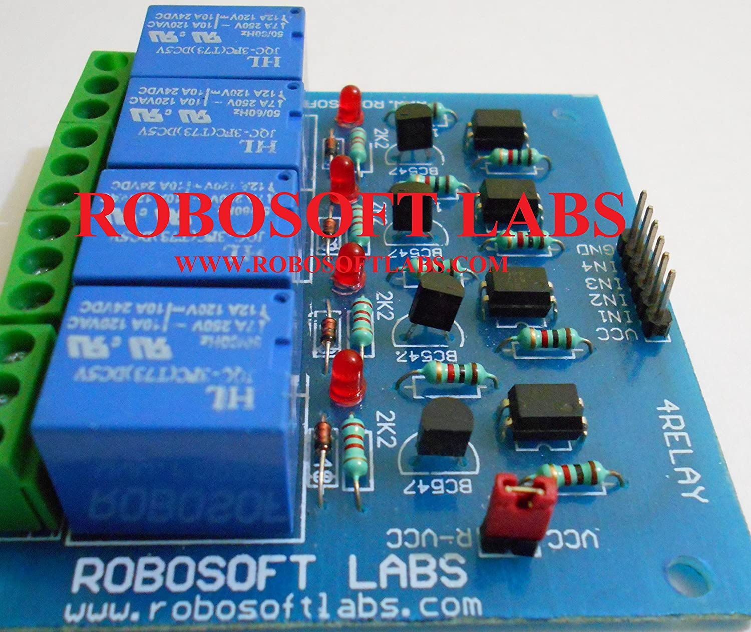 Robosoft Labs 4 Channel +12v Optocoupler Protection Based Relay Board  Module For All Microcontroller: Amazon: Electronics