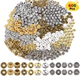 EuTengHao 600pcs Spacer Beads Jewelry Bead Charm Spacers Alloy Spacer Beads for Jewelry Making DIY Bracelets Necklace and Crafting (12 Styles,Silver and Gold) (Color: Silver and Gold)