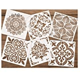Premium Quality Reusable Stencils Set of 6 (6x6 inch) Laser Cut Painting Stencil Floor Wall Tile Fabric Wood Stencils (White) (Color: white)