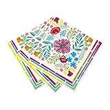 Talking Tables Frida Khalo Party Supplies   Boho Napkins Floral   Paper, 20 Pack